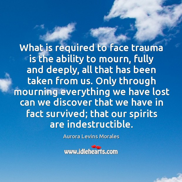 Image, What is required to face trauma is the ability to mourn, fully
