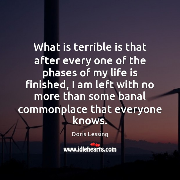 What is terrible is that after every one of the phases of Doris Lessing Picture Quote