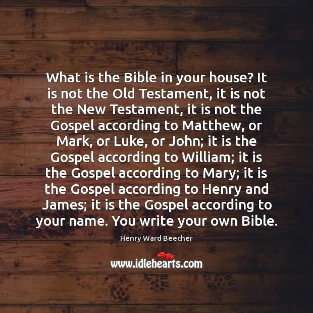 Image, What is the Bible in your house? It is not the Old