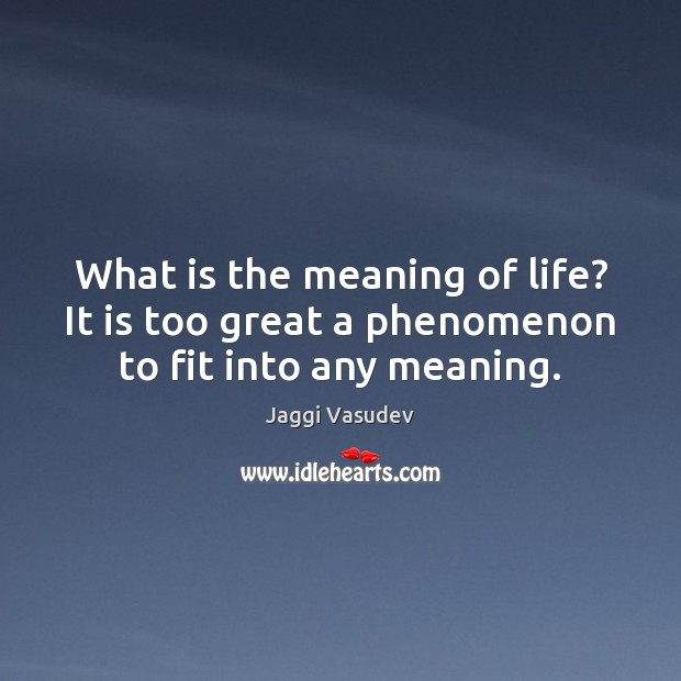 Jaggi Vasudev Picture Quote image saying: What is the meaning of life? It is too great a phenomenon to fit into any meaning.
