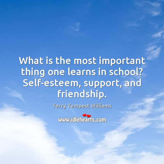 What is the most important thing one learns in school? Self-esteem, support, Image