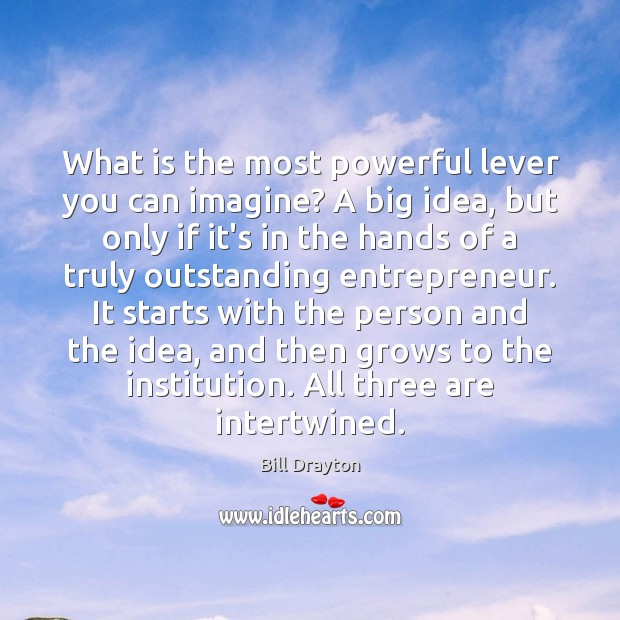 Image, What is the most powerful lever you can imagine? A big idea,
