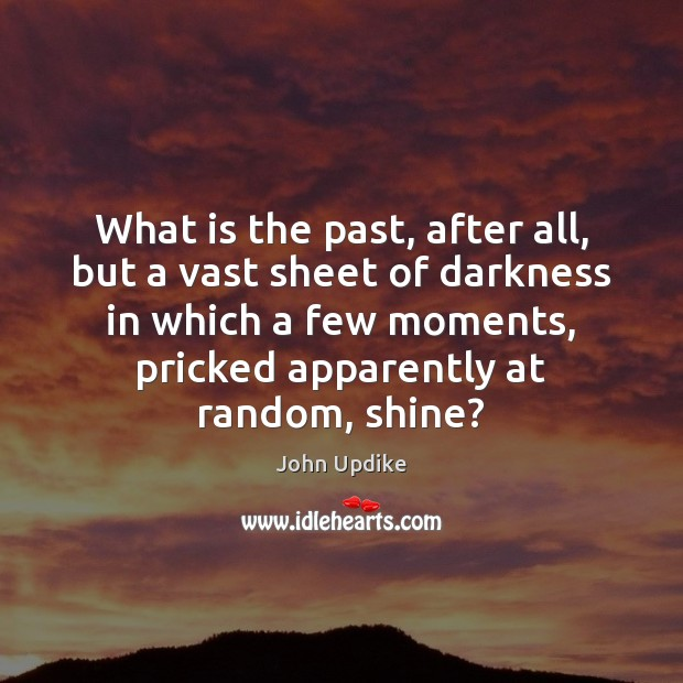 What is the past, after all, but a vast sheet of darkness John Updike Picture Quote