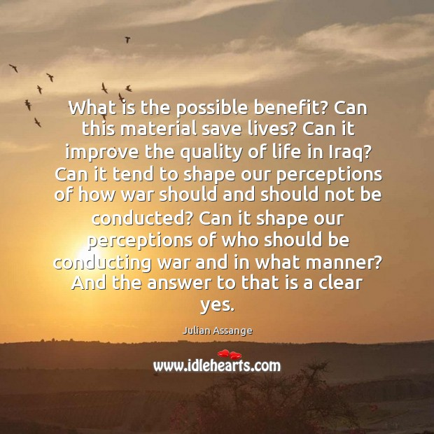 What is the possible benefit? can this material save lives? can it improve the quality of life in iraq? Image