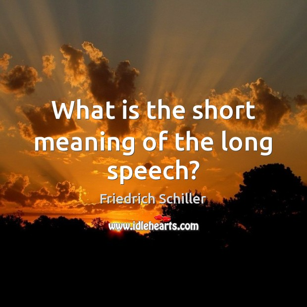 What is the short meaning of the long speech? Friedrich Schiller Picture Quote