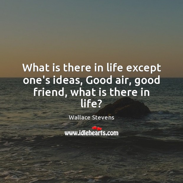 What is there in life except one's ideas, Good air, good friend, what is there in life? Image