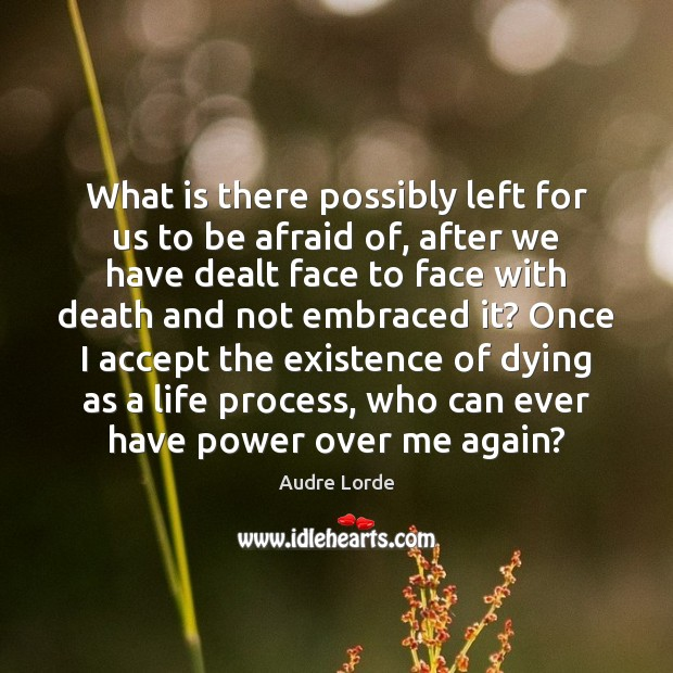 What is there possibly left for us to be afraid of, after Audre Lorde Picture Quote
