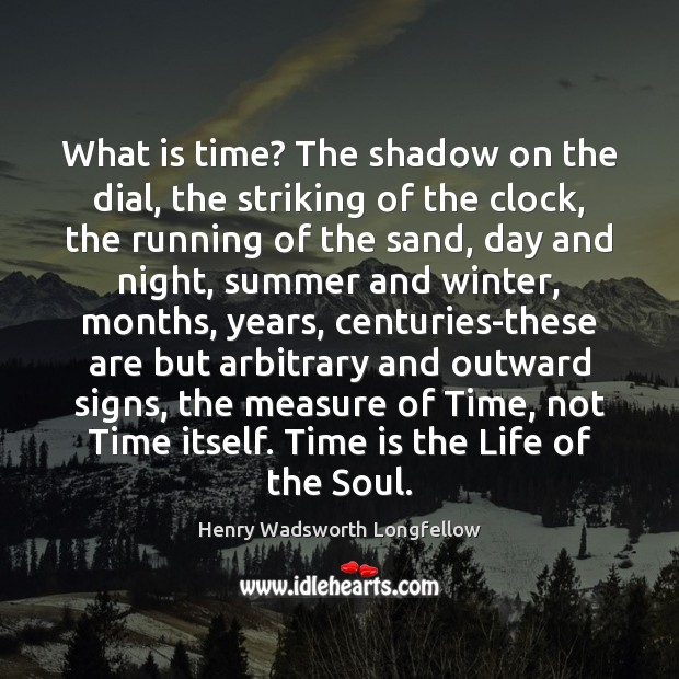 What is time? The shadow on the dial, the striking of the Image