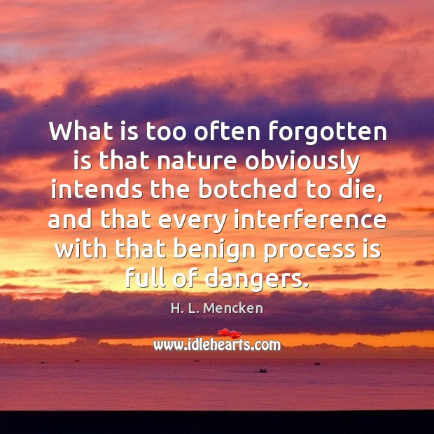 What is too often forgotten is that nature obviously intends the botched Image