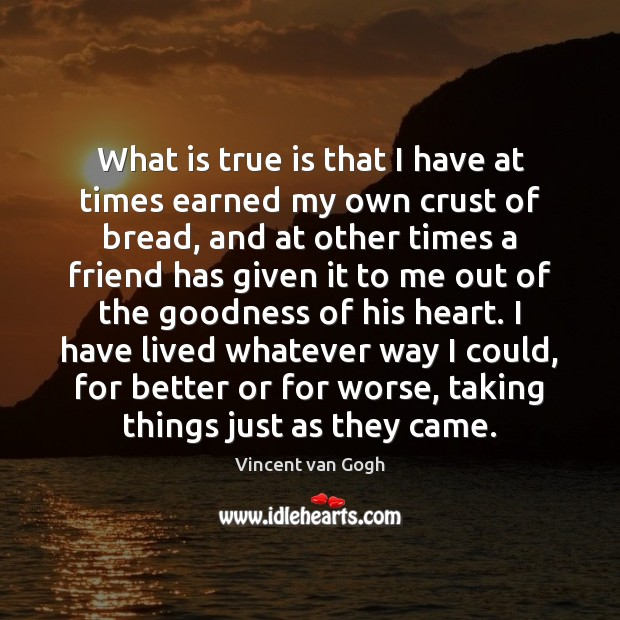 What is true is that I have at times earned my own Vincent van Gogh Picture Quote