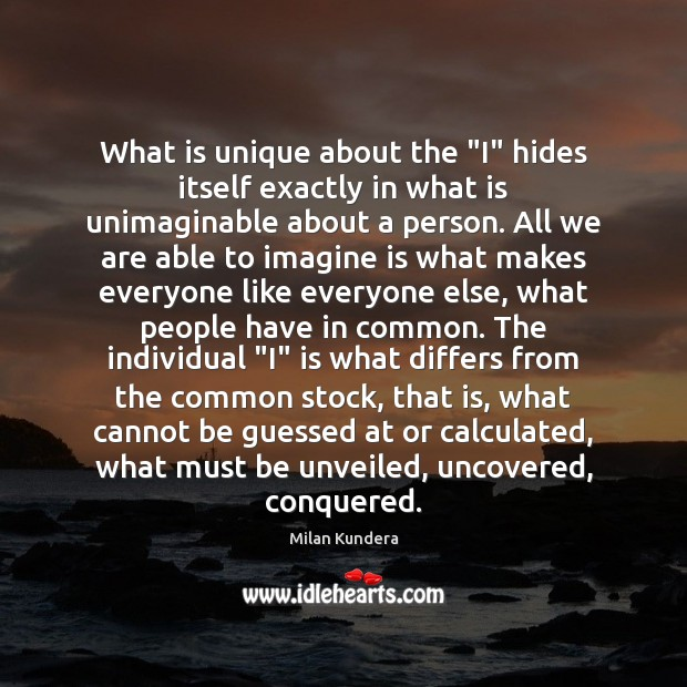 """What is unique about the """"I"""" hides itself exactly in what is Image"""