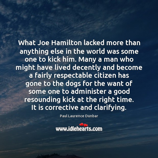 What Joe Hamilton lacked more than anything else in the world was Image