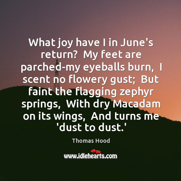 What joy have I in June's return?  My feet are parched-my eyeballs Thomas Hood Picture Quote