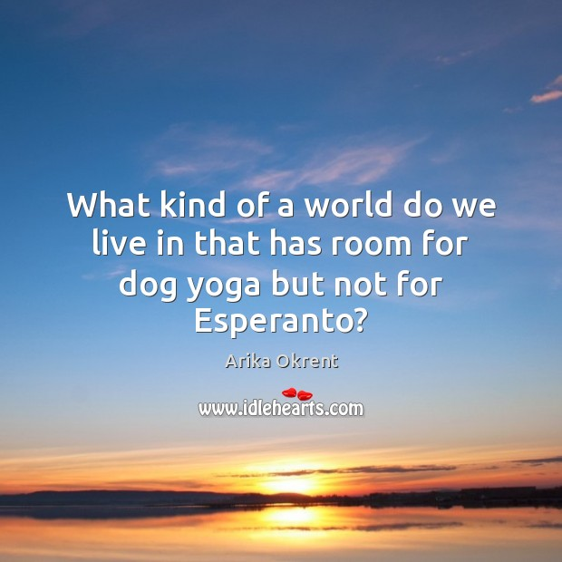 Image, What kind of a world do we live in that has room for dog yoga but not for Esperanto?