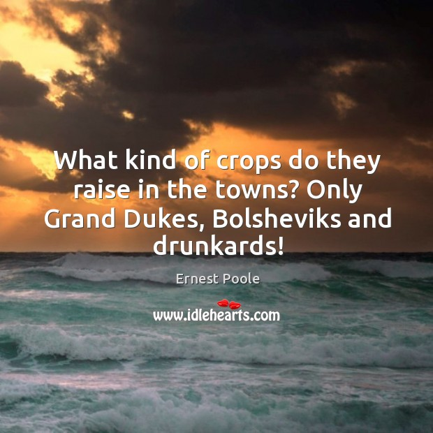 What kind of crops do they raise in the towns? only grand dukes, bolsheviks and drunkards! Image