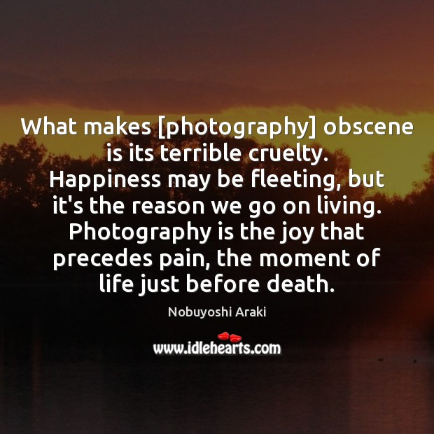 Image, What makes [photography] obscene is its terrible cruelty. Happiness may be fleeting,