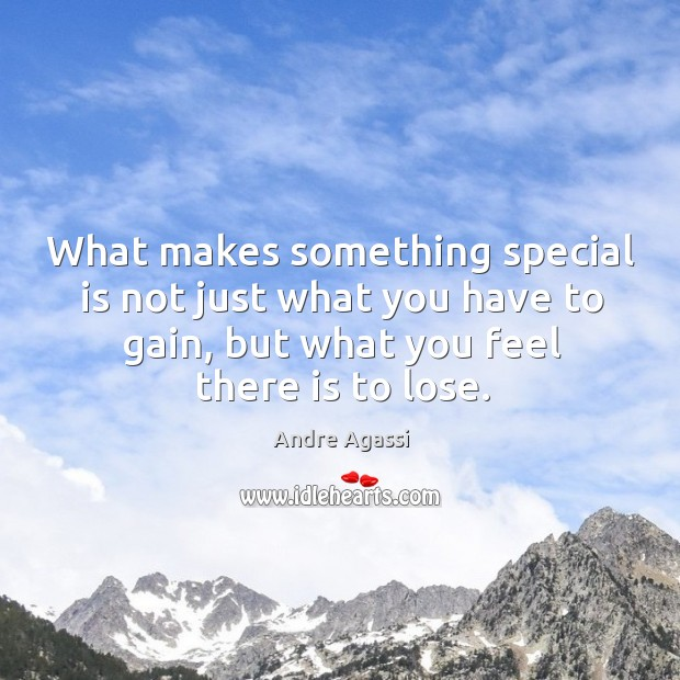 Image, What makes something special is not just what you have to gain, but what you feel there is to lose.
