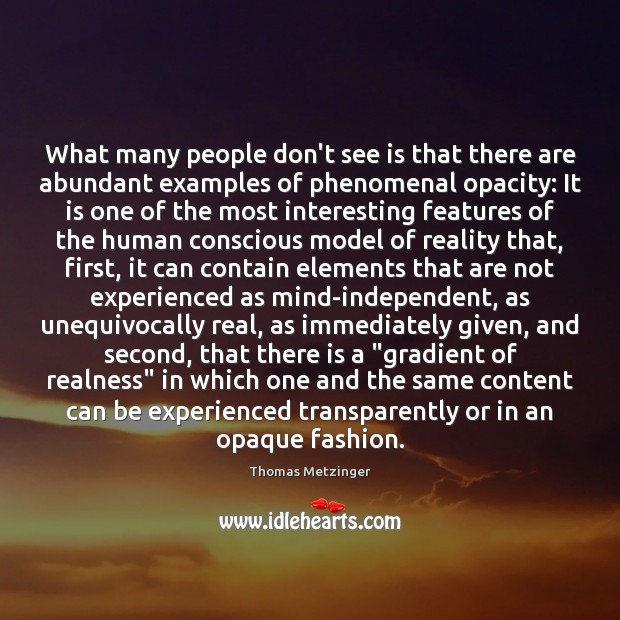 What many people don't see is that there are abundant examples of Thomas Metzinger Picture Quote