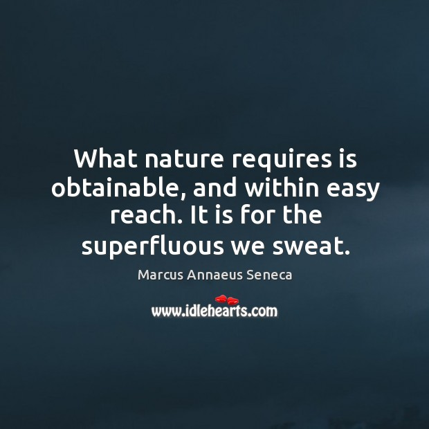 What nature requires is obtainable, and within easy reach. It is for the superfluous we sweat. Marcus Annaeus Seneca Picture Quote