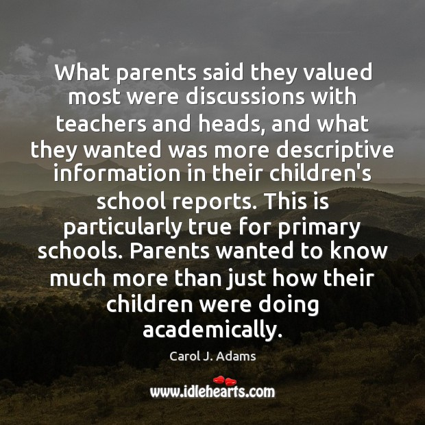 What parents said they valued most were discussions with teachers and heads, Image