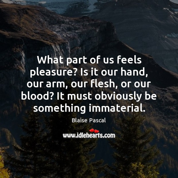 What part of us feels pleasure? Is it our hand, our arm, Image