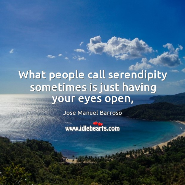 What people call serendipity sometimes is just having your eyes open, Image
