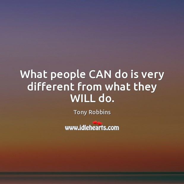 Image, What people CAN do is very different from what they WILL do.