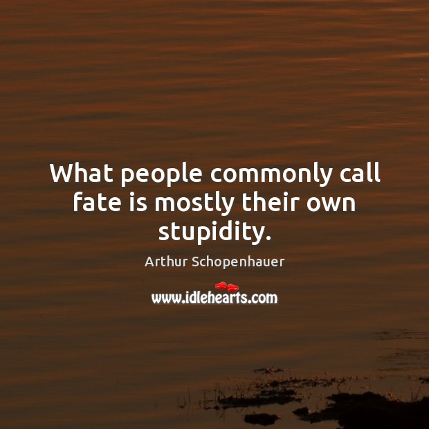 What people commonly call fate is mostly their own stupidity. Image
