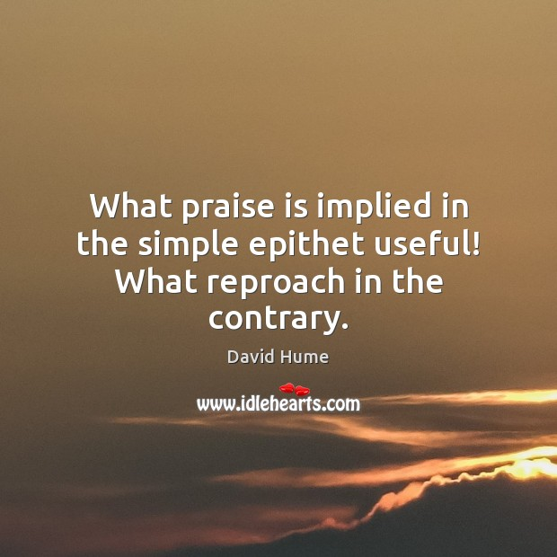 What praise is implied in the simple epithet useful! What reproach in the contrary. David Hume Picture Quote