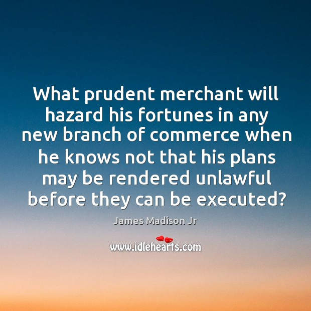 What prudent merchant will hazard his fortunes in any new branch of commerce James Madison Jr Picture Quote