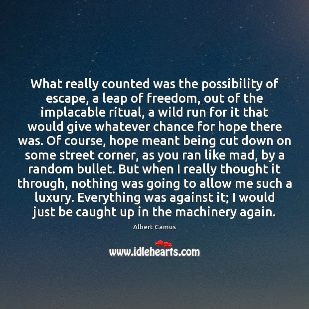 What really counted was the possibility of escape, a leap of freedom, Image