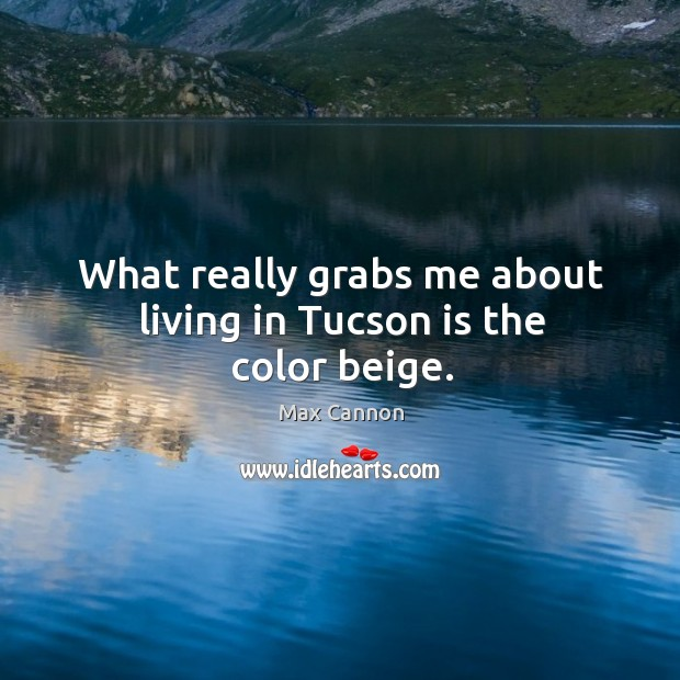 What really grabs me about living in tucson is the color beige. Max Cannon Picture Quote