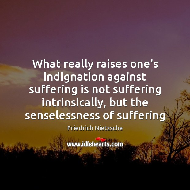 Image, What really raises one's indignation against suffering is not suffering intrinsically, but