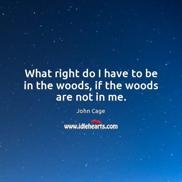 What right do I have to be in the woods, if the woods are not in me. Image