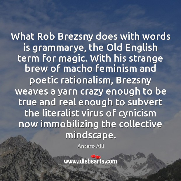 Image, What Rob Brezsny does with words is grammarye, the Old English term