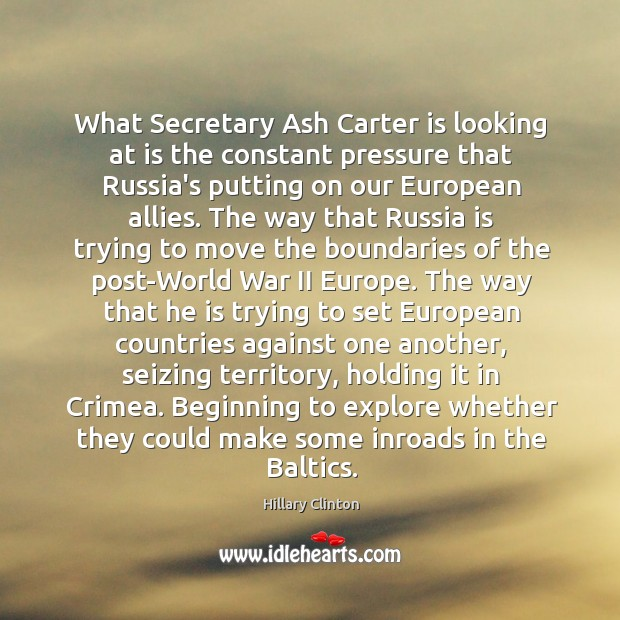 Image about What Secretary Ash Carter is looking at is the constant pressure that