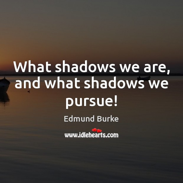 Image, What shadows we are, and what shadows we pursue!