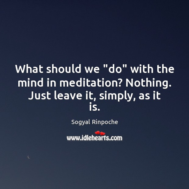 """What should we """"do"""" with the mind in meditation? Nothing. Just leave it, simply, as it is. Sogyal Rinpoche Picture Quote"""