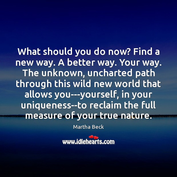 What should you do now? Find a new way. A better way. Martha Beck Picture Quote