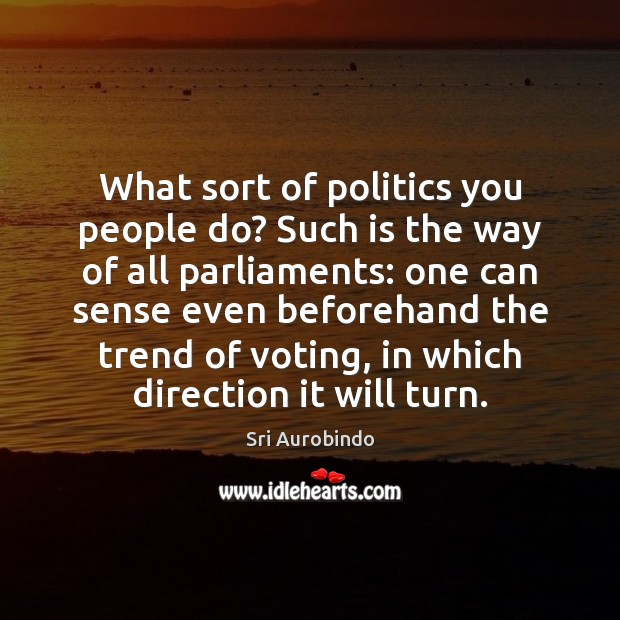 What sort of politics you people do? Such is the way of Sri Aurobindo Picture Quote