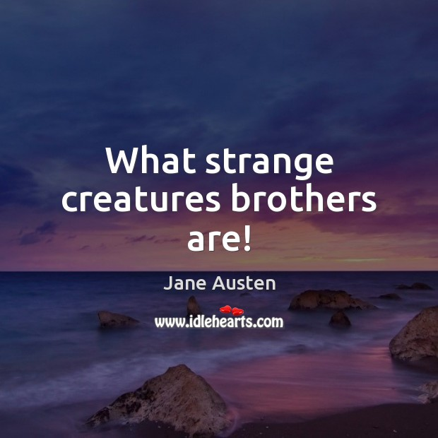 Image, What strange creatures brothers are!