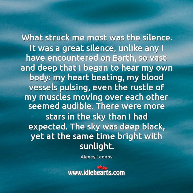 Image, What struck me most was the silence. It was a great silence,