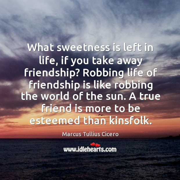 What sweetness is left in life, if you take away friendship? Image