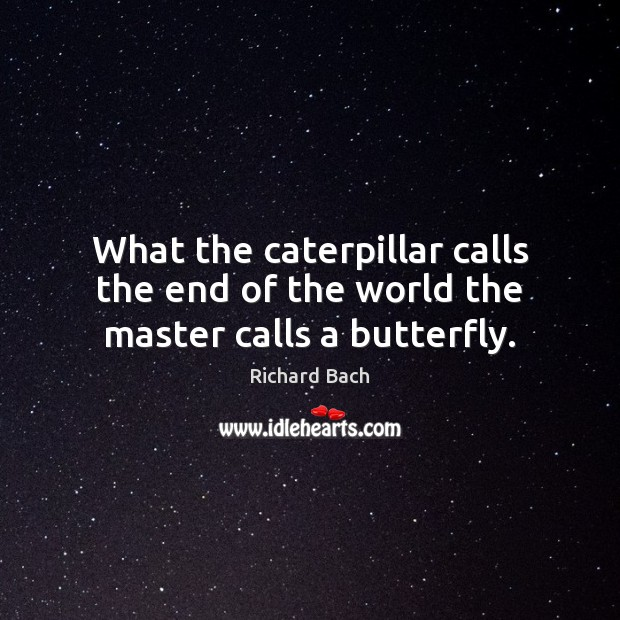 Image, What the caterpillar calls the end of the world the master calls a butterfly.