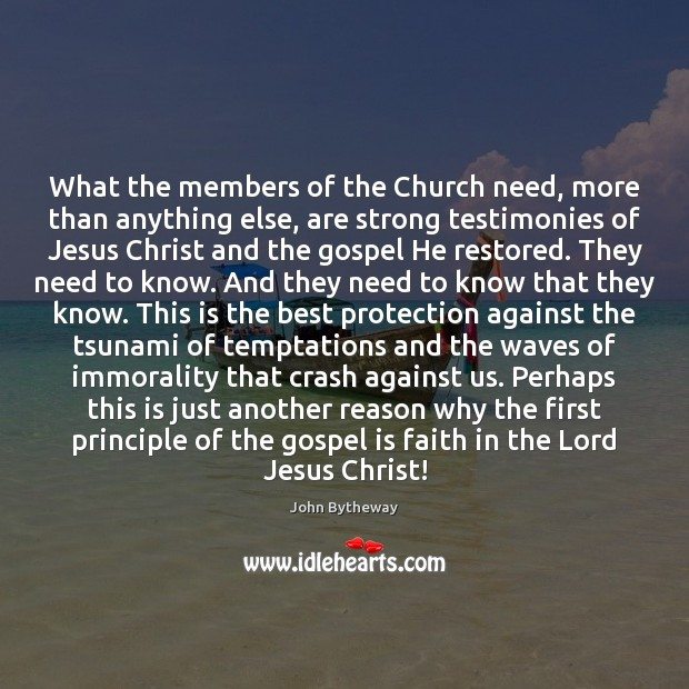 Image, What the members of the Church need, more than anything else, are