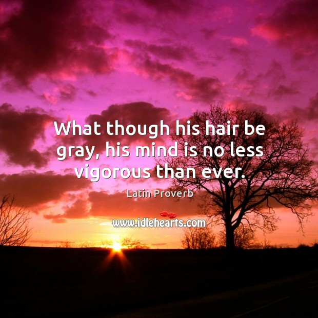 What though his hair be gray, his mind is no less vigorous than ever. Latin Proverbs Image