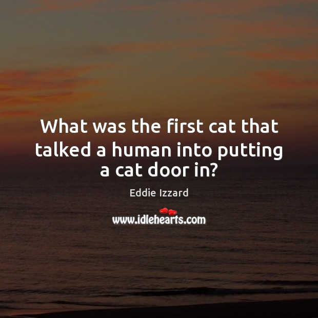 What was the first cat that talked a human into putting a cat door in? Image