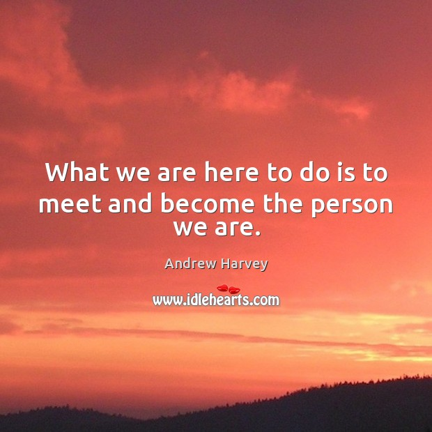 What we are here to do is to meet and become the person we are. Image