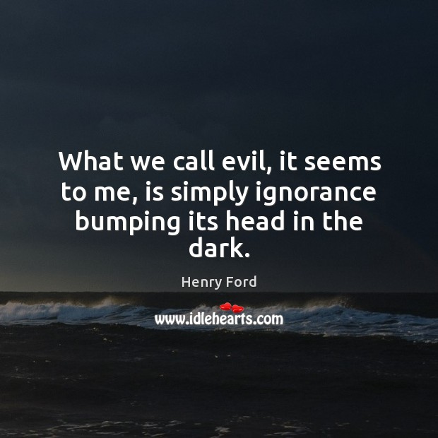 What we call evil, it seems to me, is simply ignorance bumping its head in the dark. Henry Ford Picture Quote