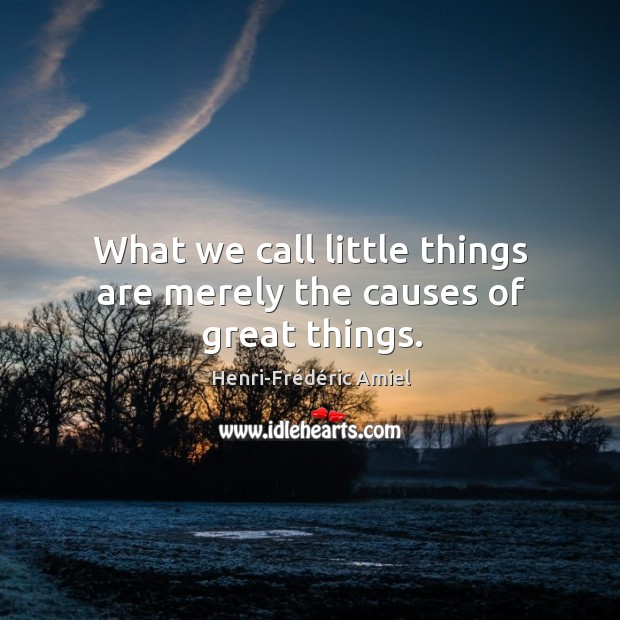 What we call little things are merely the causes of great things. Image